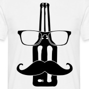 Beer Bottle Glasses Nerd Mustache 1c T-Shirts