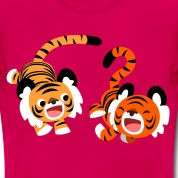 Ruby red Cute Frolicking Cartoon Tigers by Cheerful Madness!! Women's T-Shirts