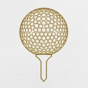 gold effect golf ball on tee_6x4 T-Shirts