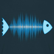 fish skeleton - music wave - DD blue T-Shirts