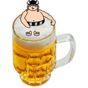 Bier-badender Wikinger / beer bathing viking (DDP)