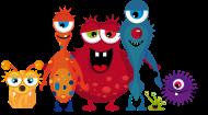 T-Shirt Une famille colorée de monstre <br />imprimer sur un tee shirt