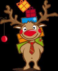 T-Shirt Un renne avec des cadeaux et une boule de Noël <br />imprimer sur un tee shirt