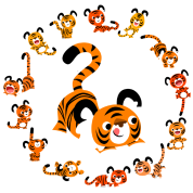Cute Cartoon Tigers Mandala by Cheerful Madness!!