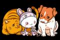 Motif Puni avec chat et chien