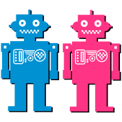 retro robot couple