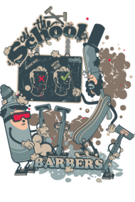 T-Shirt barbers shop old school<br />personnalisation v&ecirc;tement