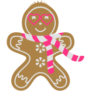 Gingerbread man with heart glasses and scarf