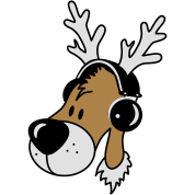 Reindeer head with headphones