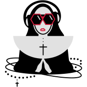 The nun with sunglasses and headphones