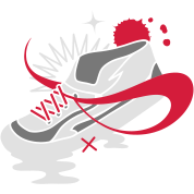 A shoe with laces and various forms