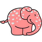 Pink elephant with polka dots