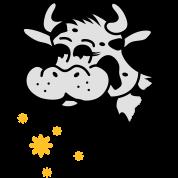Une vache mange bouquet