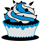A blueberry cupcake