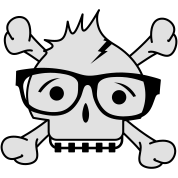 A skull with nerd glasses and braces