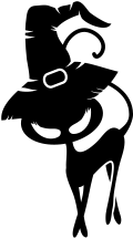 Motif Un chat noir avec chapeau de sorcière
