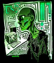 T-Shirt Geek Computer Green<br />imprimer sur un tee shirt