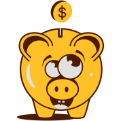 A funny piggy bank with a dollar