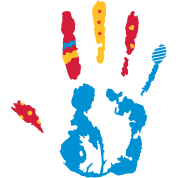 A colorful hand print with various shapes