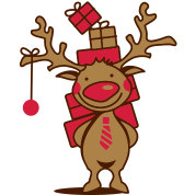 A reindeer with gifts