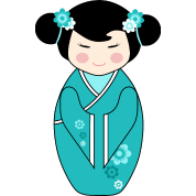 Cute Kokeshi Doll Illustration in Blue
