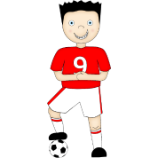 Cartoon Football Plater in Red and White Strip