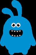Motif Monstre Lapin bleu