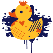 A duck with a crown as a graffiti