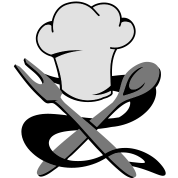 A chef's hat with spoon and fork