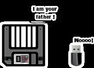 T-Shirt geek - Disquette VS USB key<br />imprimer sur un tee shirt