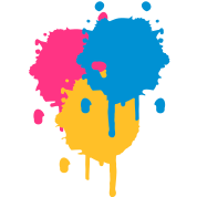 Three bright color spots in graffiti style