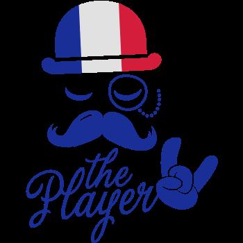 T-Shirt France retro gentleman sports player rock football bachelor olympics poker championship Moustach<br />imprimer sur un tee shirt