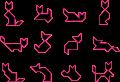 Motif Chat en tangram