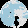 Motif Chasseur de papillons-   Un petit ours avec un filet à papillons au clair de lune