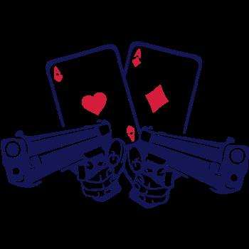 T-Shirt pistol gun weapon card poker as rev<br />imprimer sur un tee shirt