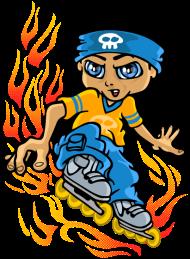 T-Shirt Roller boy and tribal flames<br />imprimer sur un tee shirt