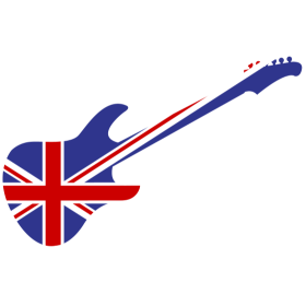 Union Jack Gitarre auf dein T-Shirt