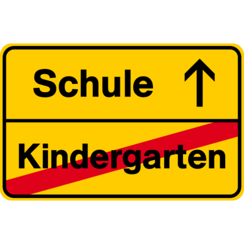 Ortsausgangsschild Schule Kindergarten auf dein T-Shirt