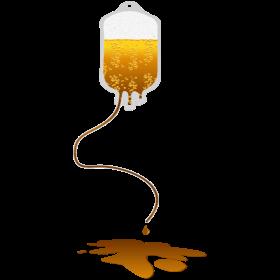 auslaufender Blutbeutel mit Bier auf dein T-Shirt