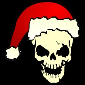 Totenkopf mit Weihnachtsmütze auf dein T-Shirt