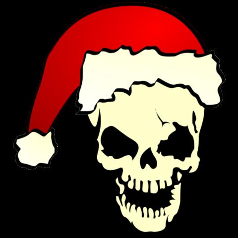 T-Shirt mit Totenkopf mit Weihnachtsmütze