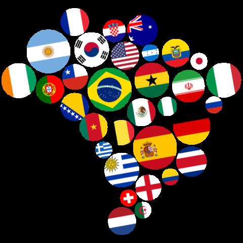 Nationen Brasilien 2014 auf dein T-Shirt
