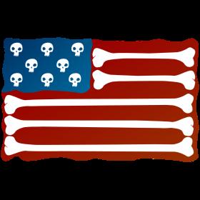 USA Fahne aus Knochen Skull auf dein T-Shirt