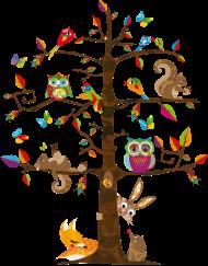 T-Shirt animaux colorés sur un arbre <br />imprimer sur un tee shirt