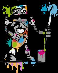 T-Shirt Un robot avec un pinceau<br />imprimer sur un tee shirt