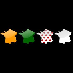 Frankreich in Farben der Tour de France Trikots auf dein T-Shirt