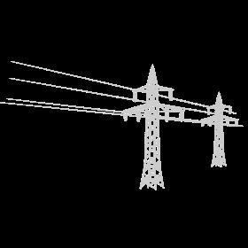 Überland Strommast schwarz auf dein T-Shirt
