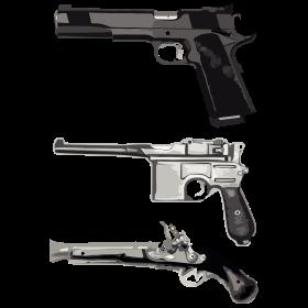 Drei Pistolen auf dein T-Shirt