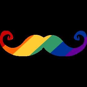 Regenbogen Moustache auf dein T-Shirt
