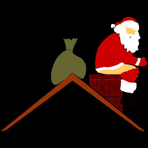 T-Shirt mit Weihnachtsmann kackt in Schornstein in Farbe